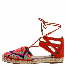 Aquazzura Multicolor Woven Fabric And Suede Belgravia Lace Up Espadrille Flat Sandals Size 37.5 321255