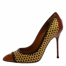 Sergio Rossi Multicolor Woven Leather And Patent Pumps Size 35.5 322690