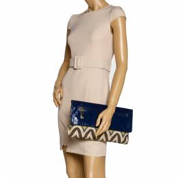 Tory Burch Multicolor Tribal Print Canvas and Patent Leather Flap Clutch 322810