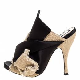 No. 21 Black/Beige Satin And Canvas Raso Knot Peep Toe Mules Size 36 322781