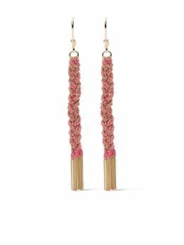 Carolina Bucci плетеные серьги-подвески Lucky из желтого золота CB10013YSHOCK