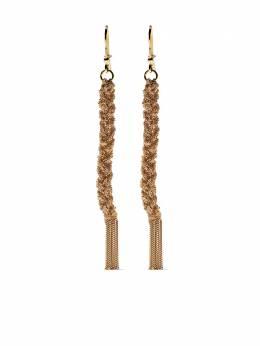 Carolina Bucci плетеные серьги-подвески Lucky из желтого золота CB10013YBEIGE