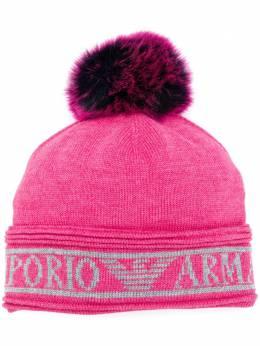 Emporio Armani шапка бини вязки интарсия с помпоном 6375360A205