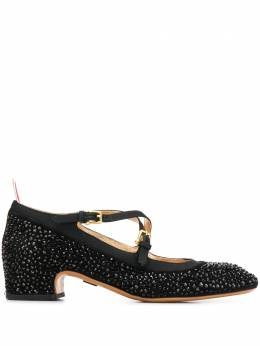 Thom Browne туфли с кристаллами и перекрестными ремешками FFH205B06823