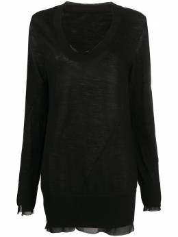 Sacai платье-свитер с шифоновой окантовкой 2005198