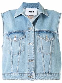 MSGM джинсовая куртка без рукавов с вышитым логотипом 2943MDW40L207639