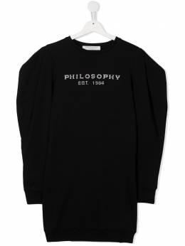 Philosophy Di Lorenzo Serafini Kids толстовка с объемными рукавами и вышитым логотипом PJAB90FE147ZH002