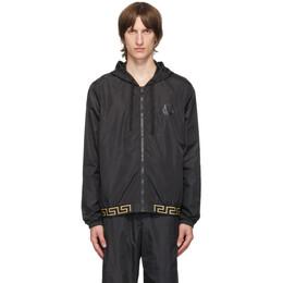 Versace Underwear Black Greca Hooded Track Jacket AGU03007 AN00251