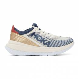 Hoka One One Off-White and Blue Carbon X-SPE Sneakers 1110512 TWH