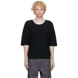 Homme Plisse Issey Miyake Black Crewneck T-Shirt HP08JK102