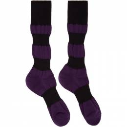 Homme Plisse Issey Miyake Purple and Black Panelled Socks HP09AI526