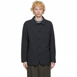 Issey Miyake Men Black and White Seersucker Striped Jacket ME08FU027