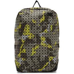 Bao Bao Issey Miyake Grey and Yellow Camouflage Kuro Liner Backpack BB09AG113