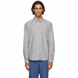 A.P.C. White and Grey Striped Anton Shirt COEFW-H12428