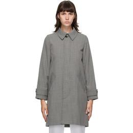 A.P.C. Black and Grey Houndstooth Dinard Coat PSAEG-F01254