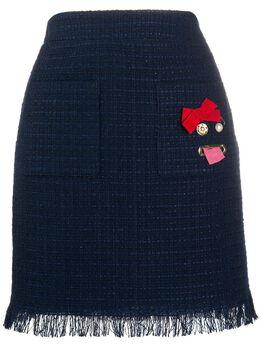Boutique Moschino твидовая юбка с завышенной талией 1106116