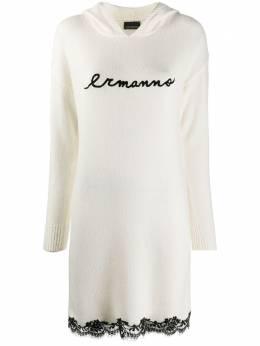 Ermanno Ermanno Scervino трикотажное платье с контрастным логотипом AB52WAN