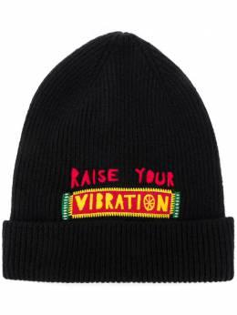 La Doublej шапка бини Vibration с вышитой надписью HAT0002KNI029