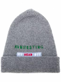 La Doublej шапка бини Manifesting с вышитой надписью HAT0002KNI029