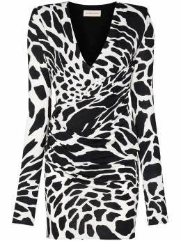 Alexandre Vauthier платье мини с анималистичным принтом и запахом 204DR13241351204WHITE