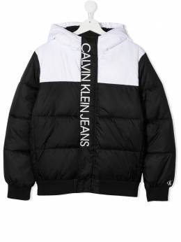 Calvin Klein Kids TEEN logo print colour-block padded jacket IB0IB00559
