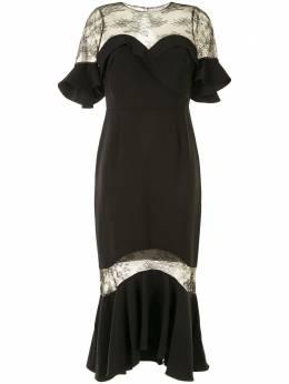 Marchesa Notte платье миди с оборками и кружевом N38C1915