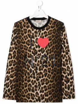 No.21 Kids леопардовый топ с логотипом N214ANN0093