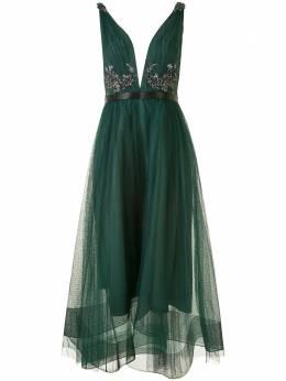 Marchesa Notte платье асимметричного кроя с V-образным вырезом и пайетками N41M2002