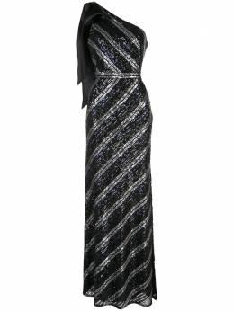 Marchesa Notte вечернее платье на одно плечо с пайетками N41G1956