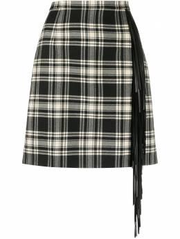 Michael Kors Collection юбка мини в клетку с кисточками 106PKR007