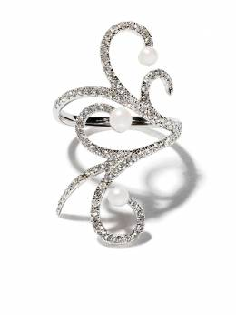 As29 18kt white gold Lucy pearl and diamond knuckle ring LUCY038