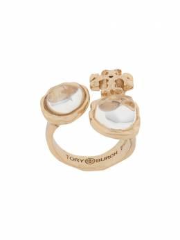 Tory Burch кольцо с кристаллами и логотипом 75737