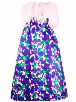 Richard Quinn платье с перьями и цветочным принтом RQAW20