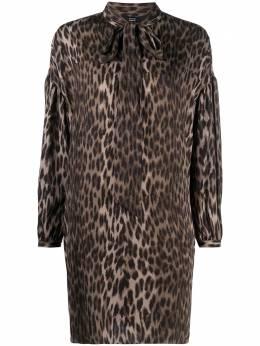 Steffen Schraut платье-рубашка с леопардовым принтом и бантом 20078333