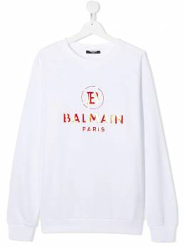 Balmain Kids толстовка с вышитым логотипом 6N4660TNX300