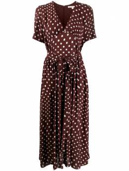 Alexa Chung платье с V-образным вырезом и узором в горох P20DR01BVI540
