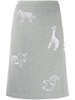 Thom Browne юбка прямого кроя с вышивкой FJK038E00050