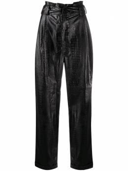 Amen брюки с завышенной талией и тиснением под крокодила AMW20315