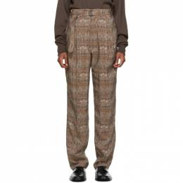 Lemaire Brown and Beige Belted Pleats Trousers M 203 PA151 LF517