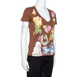 Dior Brown Logo Floral Print Cotton V-Neck Fitted T-Shirt L 323161