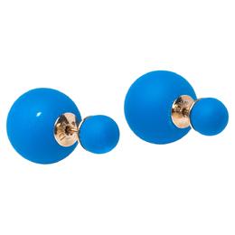 Dior Tribale Mise en Dior Matte Blue Gold Tone Stud Earrings 322701