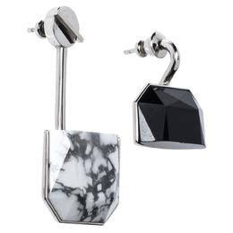 Dior Monotone Crystal & Howlite Asymmetric Drop Earrings 322769