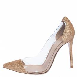 Gianvito Rossi Gold Glitters And PVC Plexi Pointed Toe Pumps Size 37.5 323016
