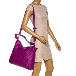 Aigner Purple Leather Drawstring Top Handle Bag 323071