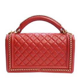 Chanel Red Leather Medium Boy Top Handle Bag 317940