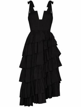 Ulla Johnson ярусное платье миди Valentina FA200167TAFFETA
