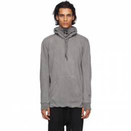 11 By Boris Bidjan Saberi Grey Embroidered Logo Hoodie 89-H1B-F1229