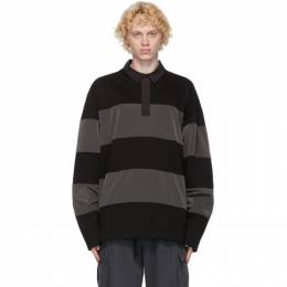 Juun.J Black and Grey Long Sleeve Polo JC0841P05