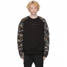 Juun.J Black and Camo Print Sweatshirt JC0941P06