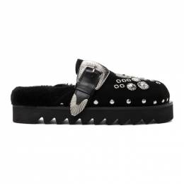 Toga Pulla Black Suede Buckle Loafers FTGPW105809001